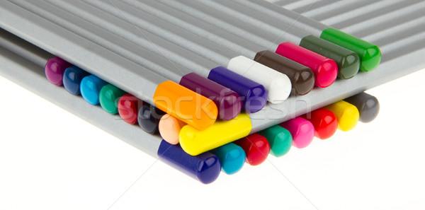 Lasagna molti diverso colore matite bianco Foto d'archivio © michaklootwijk