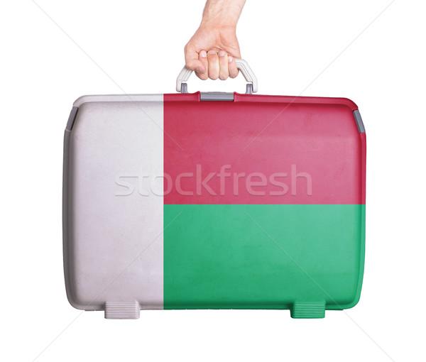 Utilisé plastique valise imprimé pavillon Photo stock © michaklootwijk