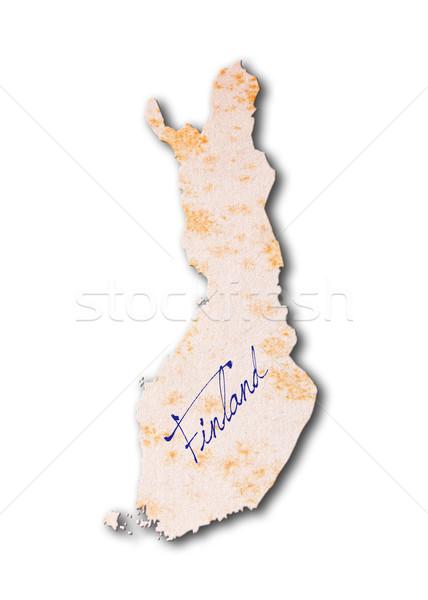 Papel viejo escritura Finlandia azul tinta digital Foto stock © michaklootwijk