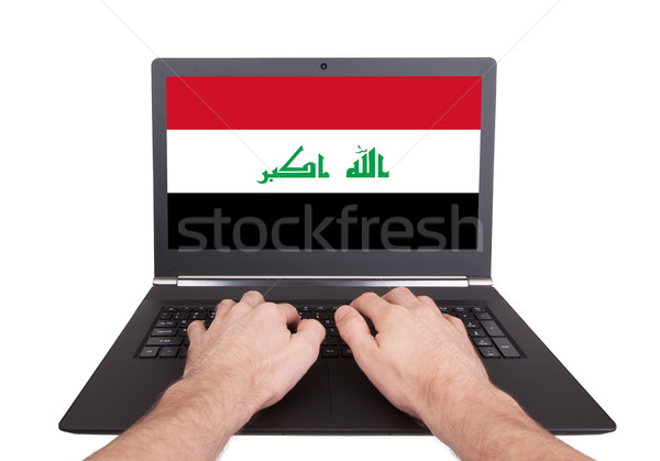 Handen werken laptop Irak tonen scherm Stockfoto © michaklootwijk