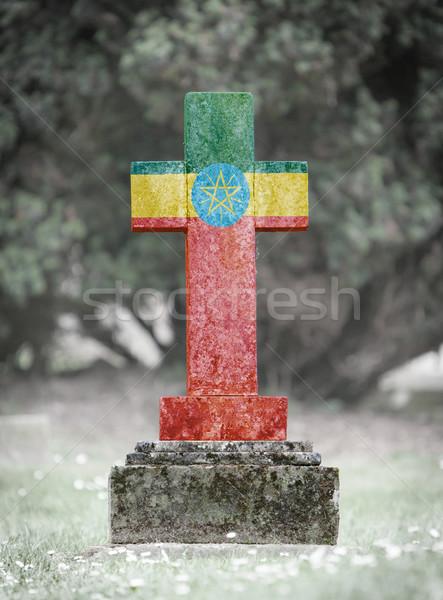 Lápide cemitério Etiópia velho resistiu pedra Foto stock © michaklootwijk