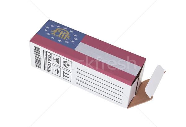 Export termék Grúzia kinyitott papír doboz Stock fotó © michaklootwijk