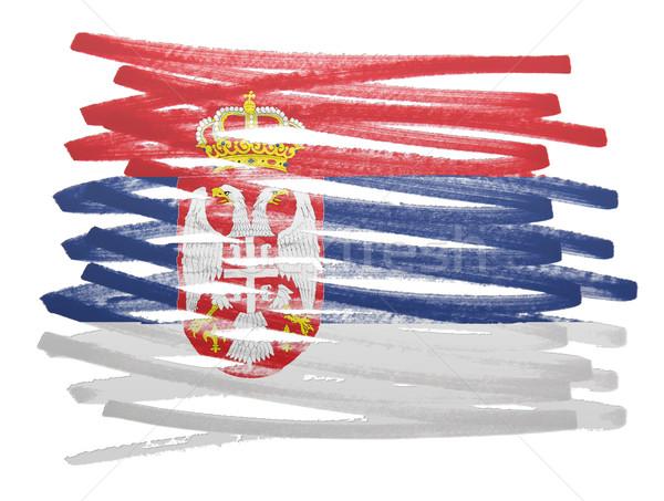 Banderą ilustracja Serbia pióro działalności farby Zdjęcia stock © michaklootwijk