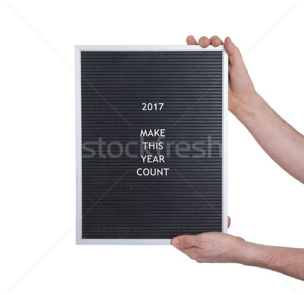 Very old menu board - New year - 2017 Stock photo © michaklootwijk