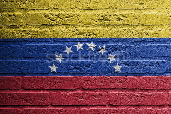 Téglafal festmény zászló Venezuela izolált fal Stock fotó © michaklootwijk