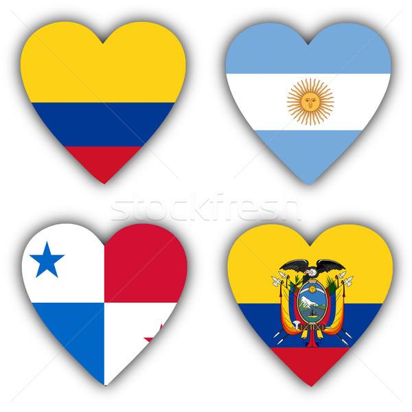 Stockfoto: Vlaggen · vorm · hart · verschillend · landen · ontwerp