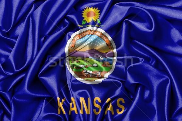 Cetim bandeira tridimensional tornar Kansas fundo Foto stock © michaklootwijk