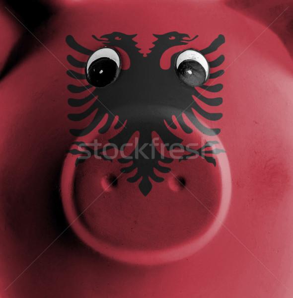 Stockfoto: Keramische · spaarvarken · schilderij · vlag · Albanië · geld