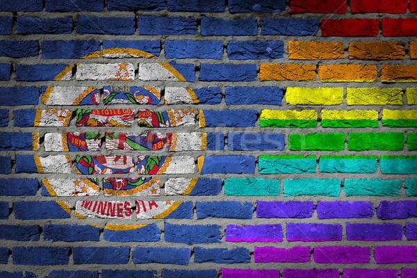 темно кирпичная стена правые Миннесота текстуры флаг Сток-фото © michaklootwijk