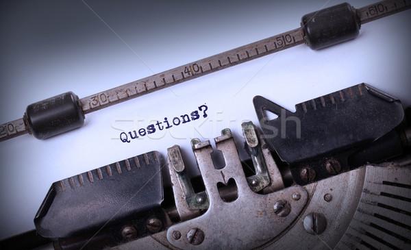 Klasszikus felirat öreg írógép kérdések háttér Stock fotó © michaklootwijk