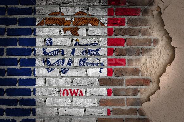 темно кирпичная стена штукатурка Айова текстуры флаг Сток-фото © michaklootwijk