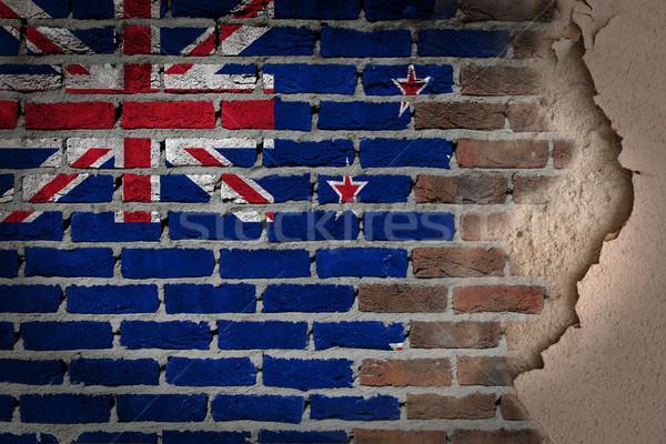 темно кирпичная стена штукатурка Новая Зеландия текстуры флаг Сток-фото © michaklootwijk