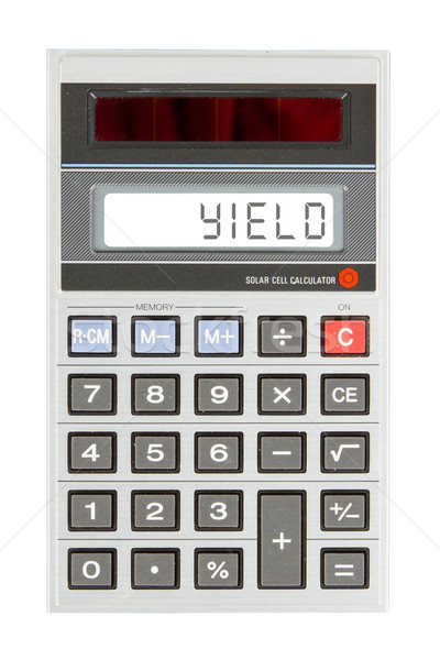 Oude calculator opleveren tonen tekst display Stockfoto © michaklootwijk