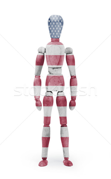Wood figure mannequin with flag bodypaint - USA Stock photo © michaklootwijk