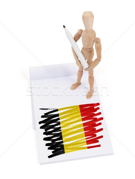 Houten etalagepop tekening België vlag papier Stockfoto © michaklootwijk