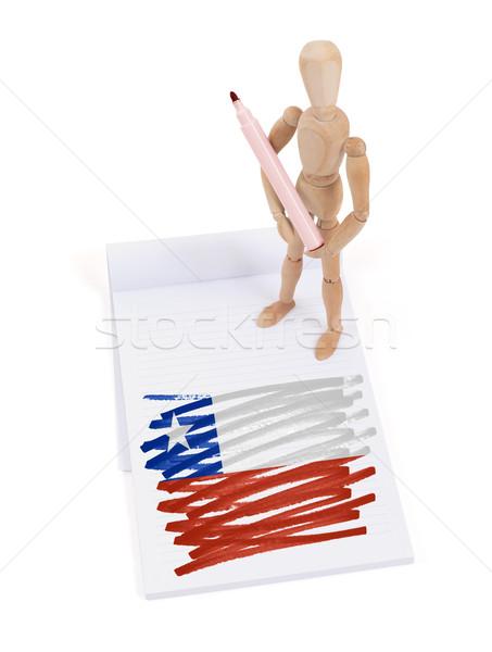 Ahşap manken çizim Şili bayrak kâğıt Stok fotoğraf © michaklootwijk