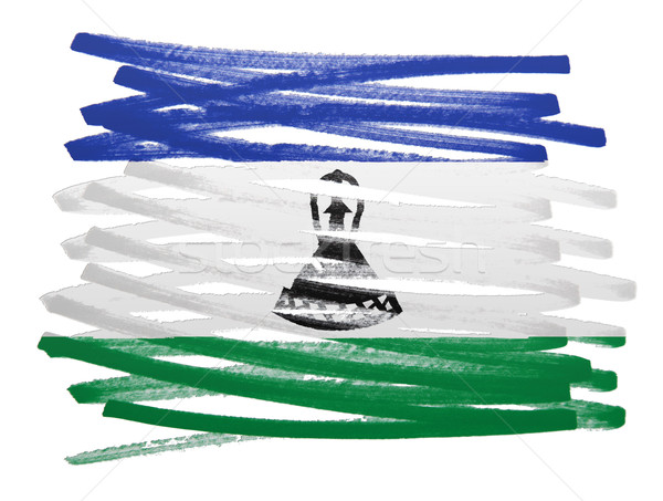 флаг иллюстрация Лесото пер бизнеса краской Сток-фото © michaklootwijk
