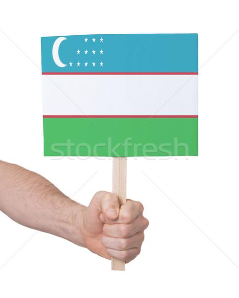 El küçük kart bayrak Özbekistan Stok fotoğraf © michaklootwijk