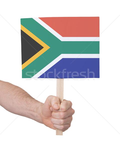 Foto stock: Mão · pequeno · cartão · bandeira · África · do · Sul
