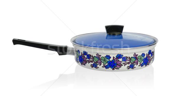 Velho panela branco comida azul cozinhar Foto stock © michaklootwijk