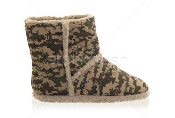 Warm slipper with camouflage print Stock photo © michaklootwijk