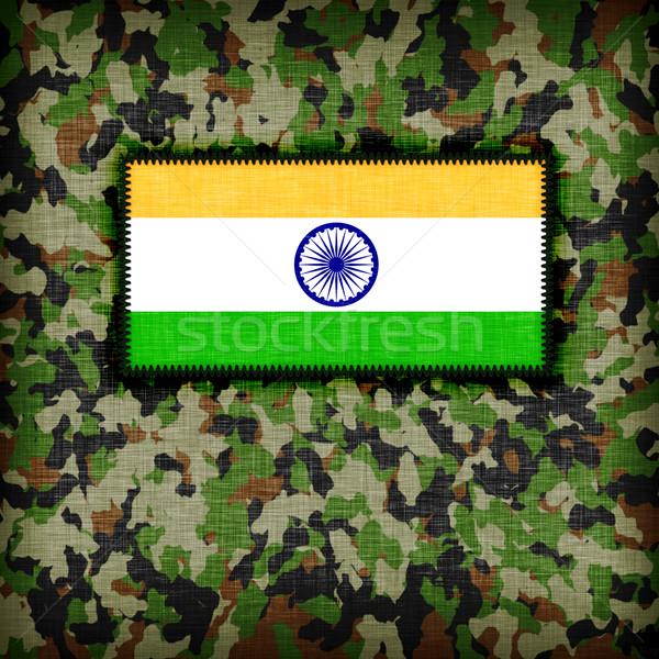 Tarnung einheitliche Indien Flagge Textur abstrakten Stock foto © michaklootwijk