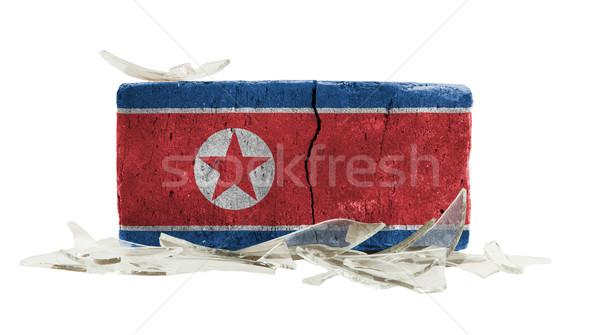 Stockfoto: Baksteen · gebroken · glas · geweld · vlag · noorden · muur