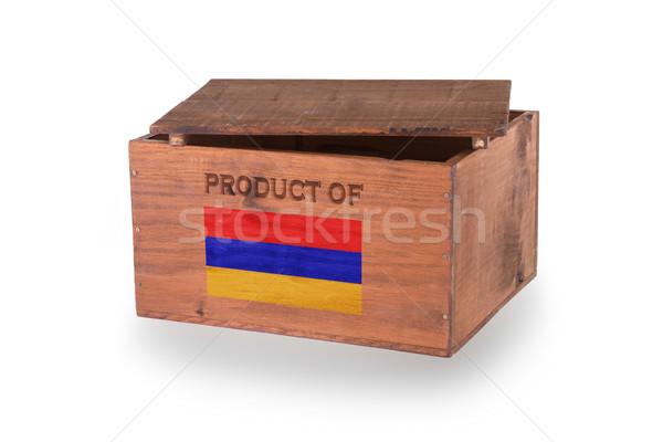 Stock fotó: Fából · készült · láda · izolált · fehér · termék · Örményország