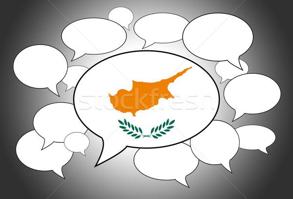 Szövegbuborékok zászló Ciprus háttér űr fehér Stock fotó © michaklootwijk