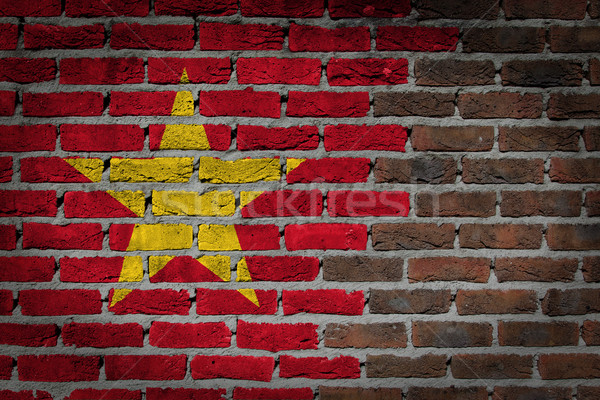 暗い レンガの壁 ベトナム テクスチャ フラグ 描いた ストックフォト © michaklootwijk