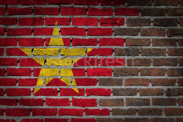 темно кирпичная стена Вьетнам текстуры флаг окрашенный Сток-фото © michaklootwijk