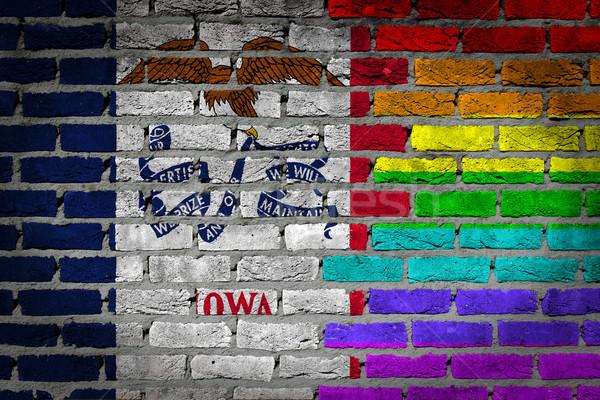 темно кирпичная стена правые Айова текстуры флаг Сток-фото © michaklootwijk