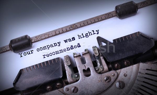 Jahrgang Inschrift alten Schreibmaschine Unternehmen sehr Stock foto © michaklootwijk