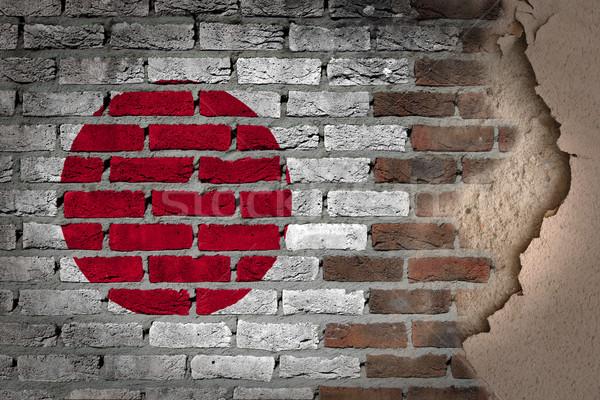 ストックフォト: 暗い · レンガの壁 · 石膏 · 日本 · テクスチャ · フラグ