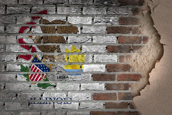 暗い レンガの壁 石膏 イリノイ州 テクスチャ フラグ ストックフォト © michaklootwijk