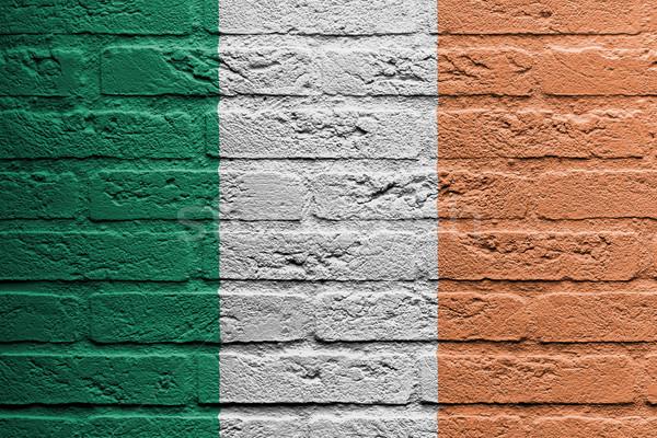 ストックフォト: レンガの壁 · 絵画 · フラグ · アイルランド · 孤立した · 塗料