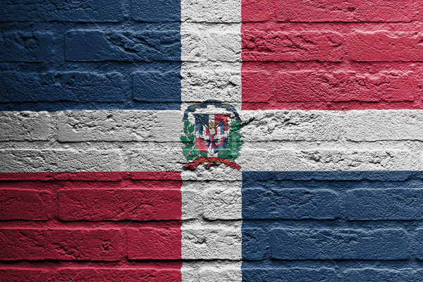 Brick wall with a painting of a flag, the dominican republic Stock photo © michaklootwijk