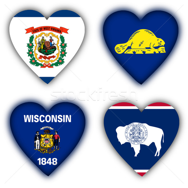 Flags in the shape of a heart, US states Stock photo © michaklootwijk