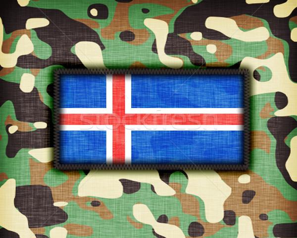 Kamuflaż uniform Islandia banderą tekstury streszczenie Zdjęcia stock © michaklootwijk