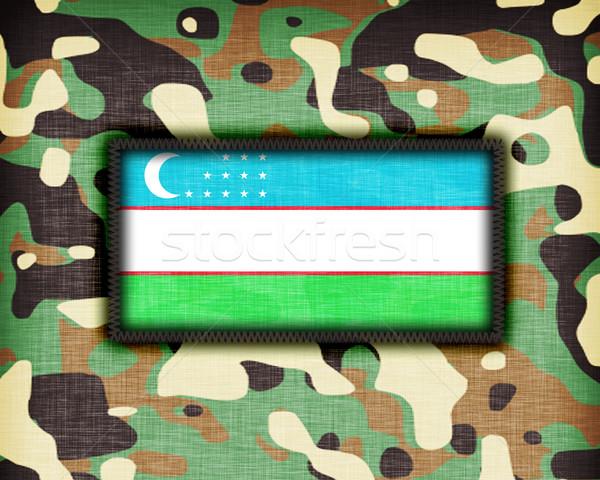 álca egyenruha Üzbegisztán zászló absztrakt zöld Stock fotó © michaklootwijk