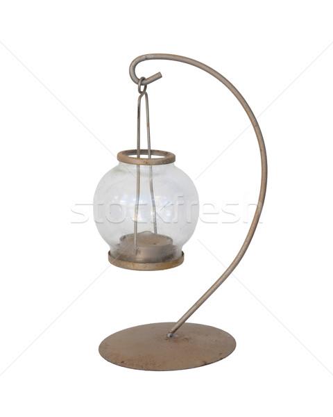 Glas lantaarn kandelaar haak geïsoleerd witte Stockfoto © michaklootwijk