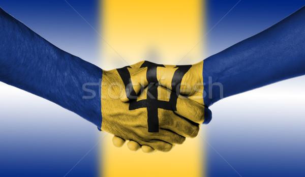 Man vrouw handen schudden vlag patroon Barbados Stockfoto © michaklootwijk