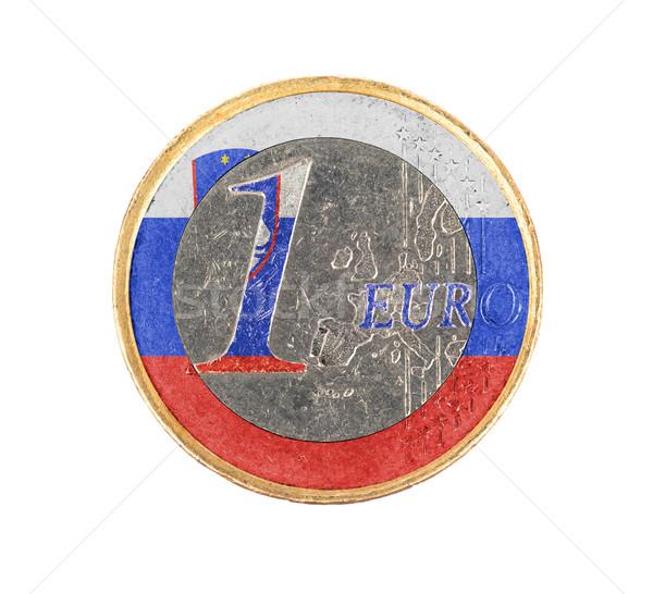 Euros moneda aislado blanco bandera Eslovenia Foto stock © michaklootwijk