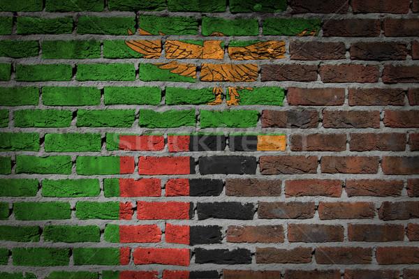Karanlık tuğla duvar Zambiya doku bayrak boyalı Stok fotoğraf © michaklootwijk