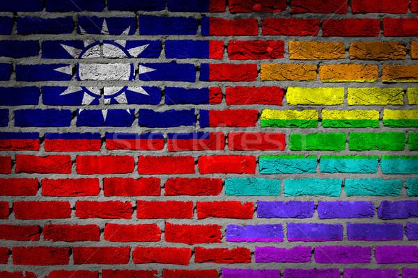 Karanlık tuğla duvar Tayvan doku bayrak Stok fotoğraf © michaklootwijk
