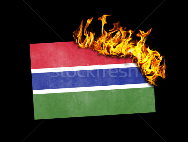 Flag burning - Gambia Stock photo © michaklootwijk