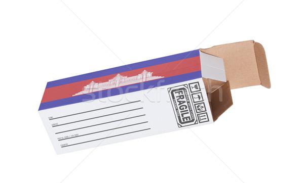 Exportar produto Camboja papel caixa Foto stock © michaklootwijk