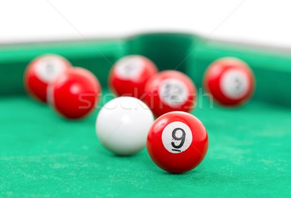 Snooker golyók zöld asztal háttér klub Stock fotó © michaklootwijk
