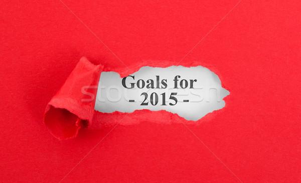 Szöveg mögött szakadt piros célok 2015 Stock fotó © michaklootwijk