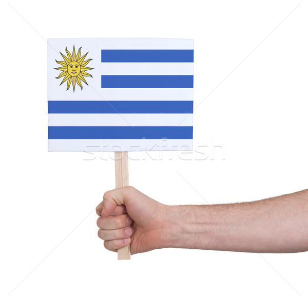 Mão pequeno cartão bandeira Uruguai Foto stock © michaklootwijk